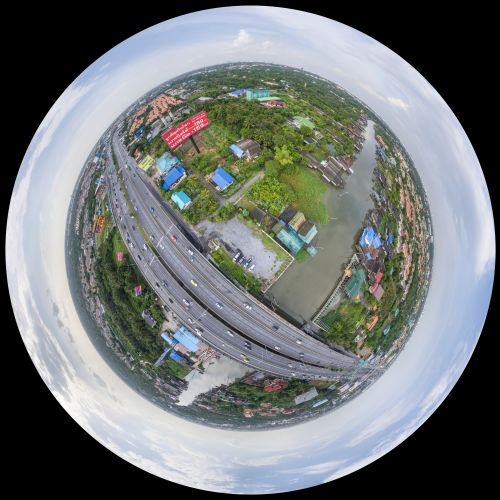 Phantom DJI-4 panorama over Ta Keing Keing Nam Restaurant